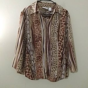 Alfred Dunner Animal Print Button Up Blouse